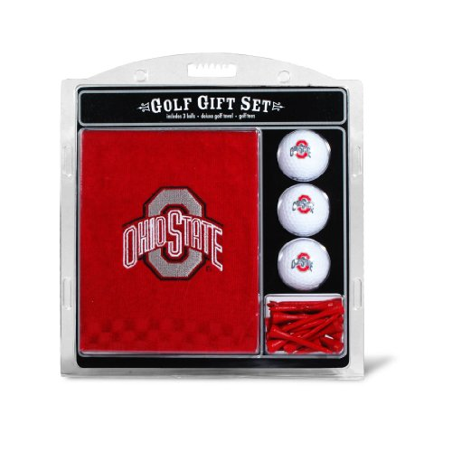 NCAA Ohio State Buckeyes Embroidered Golf Towel, 3 Golf Ball, and Golf Tee Set (Balls Logo Ball Golf State)
