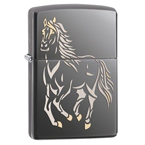 ZIPPO RUNNING LIGHTER ZIPPO 28645 BLACK HORSE RUNNING HORSE BLACK ICE UqwE5EB