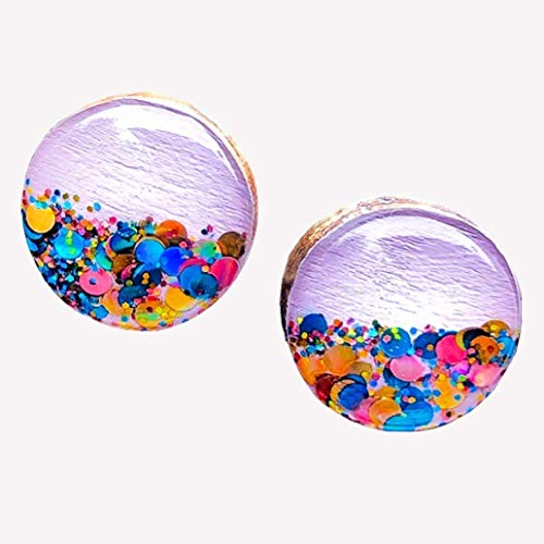 Hand Painted Wood Stud Earrings for Sensitive Ears with Rose Gold Colorful Glitter, Lavender Purple 10mm