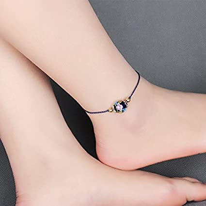 Usongs National Wind Retro Foot Chain Anklet Fine Glass Beads Foot Chain Foot Rope Adjustable Simple