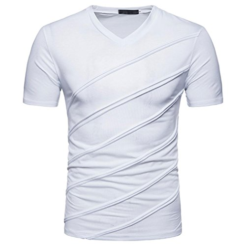 Bluestercool Fashion Hommes Casual Slim Manches Courtes T-shirt Hauts Couleur Unie Blanc