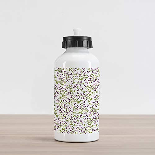 Wild Berry Olive - Ambesonne Garden Art Aluminum Water Bottle, Swirling Green Twigs with Little Wild Berries Plants, Aluminum Insulated Spill-Proof Travel Sports Water Bottle, Violet Lavender Olive Green