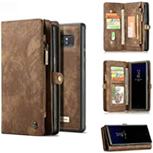 Samsung Galaxy Note 8 Wallet Case with Detachable Slim TPU PC Case, BROWN