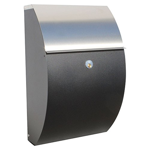 Qualarc ALX-7000-RS Allux Series Wall or Post Mount Steel Mailbox in Black with Stainless Flap