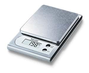 Beurer KS-22 - Balanza de cocina, medición 3 kg/1 gr, plataforma en acero inoxidable