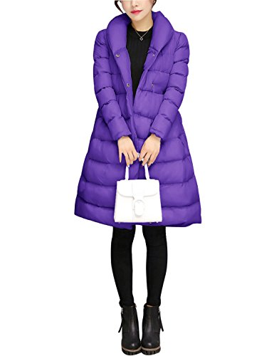 Coat Thick Puffer Purple Long Yeokou Women's Winter Jacket Down Belted Slim Down vtZqwg