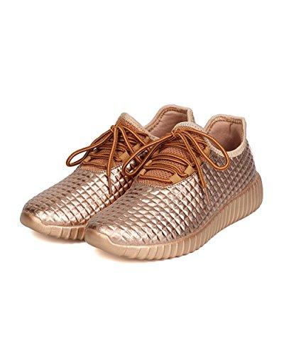 Donne Moda Leggera Glitter Glitterette In Similpelle Trapuntate Stringate Lace Up Low Top Eleganti Sneaker (7, Oro Rosa Me)