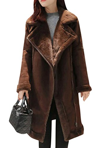 Yayun Yayu Womens Thicken Faux Suede Sherpa Lined Long Trench Pea Coats Outwear Coffee L