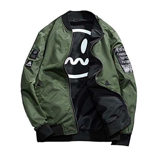 Men's Smiley Emoji Faces Baseball Reversible Bomber Jacket Letter Printed Zipper up Windbreaker Jacket Coat Outerwear (Army Green, XX-Large)