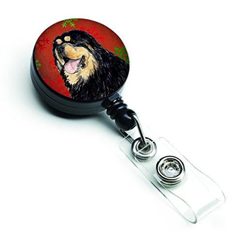 Tibetan Treasures - Caroline's Treasures Tibetan Mastiff Red Green Snowflake Christmas Badge Reel, Multicolor (SS4719BR)