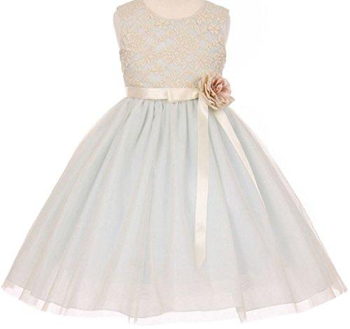 Little Baby Girls Lace Taffeta Jeweled Belt Sash Flowers Girls Dresses Blue S