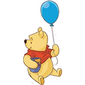 12 Inch Winnie The Pooh Bear Balloon Disney Removable Peel Self Stick Adhesive Vinyl Decorative Wall Decal Sticker Art Kids Room Home Decor Girl Boy Children Bedroom Nursery Baby 5 x 12 Inch