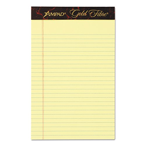 Ampad Gold Fibre Pads - Ampad 20004 Gold Fibre Writing Pads, College/Medium, 5 x 8, Canary, 50 Sheets (Case of 12 Pads)