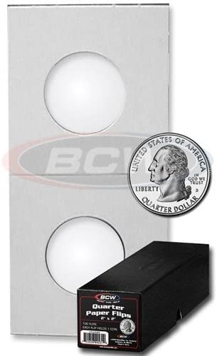 BCW Penny Size Paper Flips 2x2 Coin Holders 19mm Archival Safe Protection 25