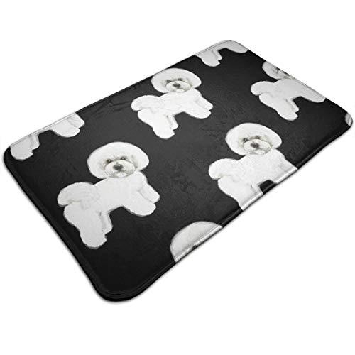 (Bichon Frise Non-Slip Bathroom Rug Mat Shower Mat Machine-Washable Bath Mats with Water Absorbent Soft Microfibers, 20