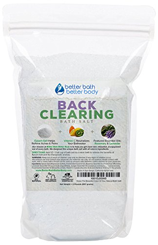 Back Clearing Bath Salt 32oz (2-Lbs) Epsom Salt With Rosemary, Lavender, Juniper, Frankincense Essential Oils Plus Vitamin C Crystals - Helps With Back Acne & Blemishes Bath Soak