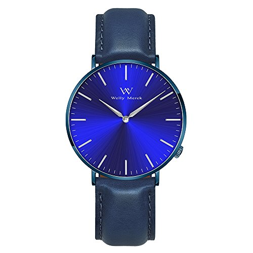 Welly Merck Men's Luxury Watch Minimalistic Design Quartz Movement Sapphire Crystal Analog Wrist Watch with 20mm Italy Genuine Leather Interchangeable Blue Strap 5ATM Water Resistant (Blue)