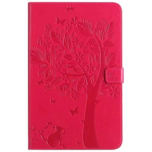 Elepower Folio Case for Galaxy Tab E 9.6, Cat&Tree Embossed Slim Fit Flip Stand PU Leather Protective Cover with Card/Money Slots for Samsung Galaxy Tab E 9.6 SM-T560 T561 T565 T567V, Red