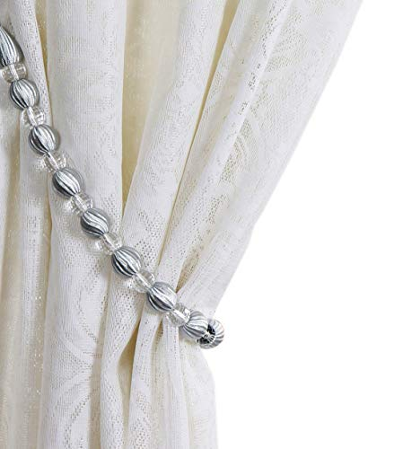 - Baihoo Set of 2 Stylish Rayon Bead with Crystal Bead Drape Curtain Tiebacks Holdbacks, 28 inches Long, Silver