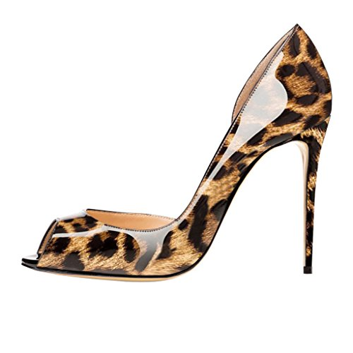 EKS Damen Peep Toe Stilett Schuhe Pumps High Heels Leopard