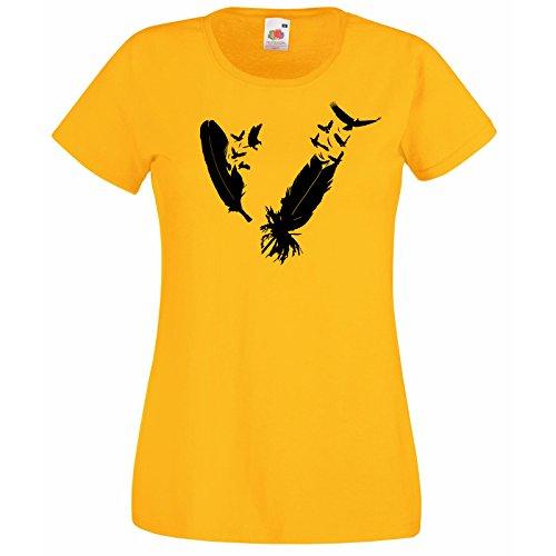 Femmes D' Fruit Cadeau Oiseaux Au Gratuit Hasard Jaune Of Avec Plumes Plume Modèle shirt Oiseau T Nib Super Décalque Premium Loom The Aigle Troupeau 5qx1YTtU