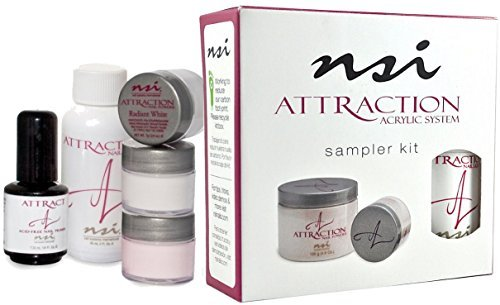 nsi Attraction Nail Acrylic System Sampler Kit (Attraction Nail Liquid,Radiant Pink+White+Totally Clear Nail Powder,Attract (Acid-Free) (Nail Cream Sampler)