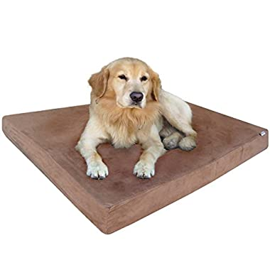 Dogbed4less Heavy Duty Orthopedic Memory Foam Pet Bed with Waterproof Internal Case + 2 Washable Microsuede External Cover for Small to Medium Large Dog
