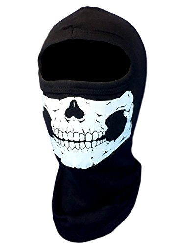 American Made Youth size Skeleton Half Skull Face Ski Hood Paintball 100% Cotton Balaclava Mask for ATV, Snowmobile, Cosplay, Motorcycle Helmet Liner]()