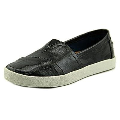 TOMS Women's Avalon Slip-On Black Patent Linen Sneaker 5 B (M)