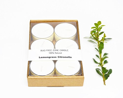 Natural Fragrant Plant (Lemongrass Citronella Bug-Free Zone 100% Natural Mosquitoes Repellent Outdoor Soy Candle Tea Lights with Free Shipping)