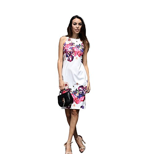 s, Women's Summer Casual Crew Neck Floral Print Sleeveless Sheath Dress White m ()