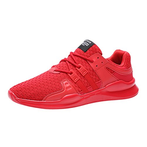 Breathable Shoes Shoes up Tiean Sport Lace Shoes Running Gym Mens Red Leisure XqXtSwfv