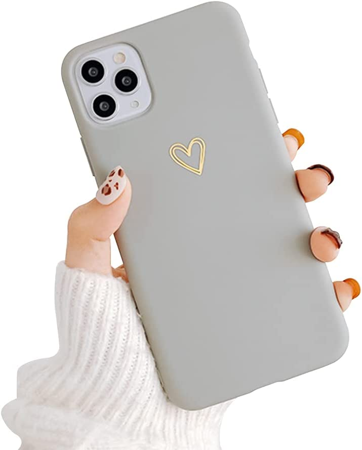Ownest Compatible with iPhone 11 Pro Case for Soft Liquid Silicone Heart Pattern Slim Protective Shockproof Case for Women Girls for iPhone 11 Pro-Gray