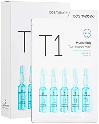 COSMETEA Korean Essence Face Mask - T1 Oolong Tea Hydrating Ampoule Full Facial Masks 10 Pack Treatments, Care Your Skin Anti-Aging, Anti-Wrinkle, Purifying, Deep Moisturizing with Hyaluronic Acid