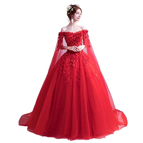 (LEJY Women's Off The Shoulder Quinceanera Dresses Applique Masquerade Ball Gowns Prom Dresses Red A)