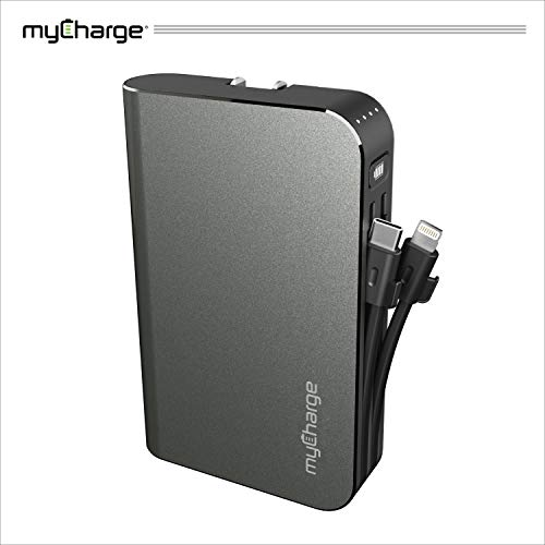 myCharge Portable Charger Power Bank - HubMax Turbo 10050 mAh External Battery Pack with PD & QC3.0 | Wall Charger Foldable Plug | Built in Cables Compatible with iPhone Lightning & USB C Devices