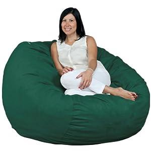 Fugu Brand Foam Bean Bag Chair 4 Foot XL Micro Suede Cover Green