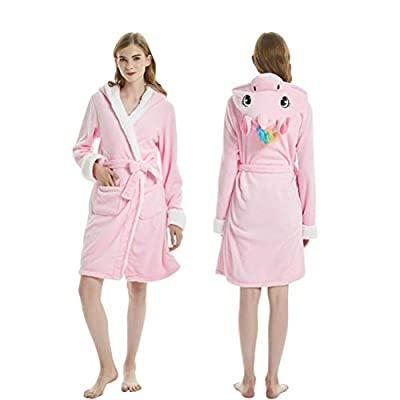 Fenghuavip Flannel Unicorn Bathrobes Winter Hooded Cloak Robes for Adults