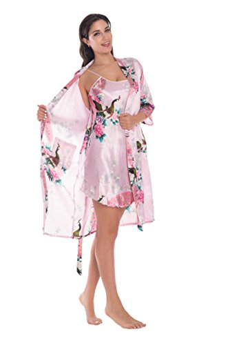 (Joy Bridalc Women's Kimono Robe Gorgeous Loungewear 2PC Set Sleepwear Camisole & Robe, Pink 3XL)