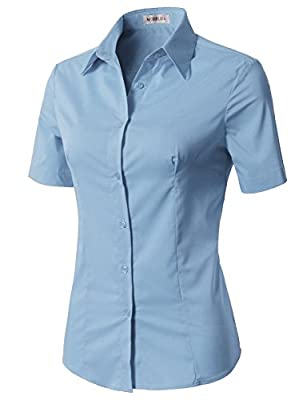 CLOVERY Women's Basic Simple Short Sleeve Trendy Slim Fit Button Down Shirt