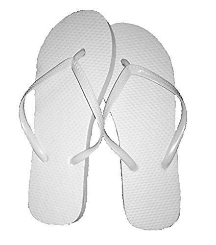 Wholesale Ladies 36 Pairs Solid White Flip Flops -