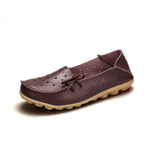 Bridfa Zapatos de cuero genuino Mujer Zapatos de mujer Zapatos Mocasines Slip On Zapatos planos de mujer Mocasines Zapato de ballet Coffee 9