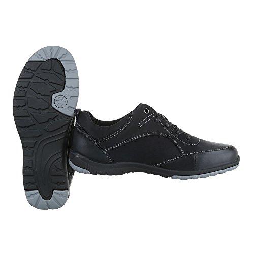 Ital-Design Men's Lace-Up Flats Schwarz 059120 zlTG1