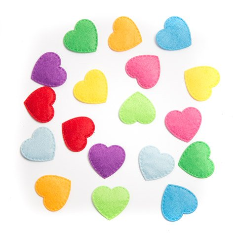 Darice Foamies Felt Heart Assorted Colors Stickers