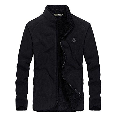 Goorape Crewneck Solid Sweater Fleece Soft Black Men's Jacket Vintage Classic qZrqagS