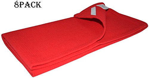- Linen Clubs 8 Pack Waffle Kitchen Towels Red Color 18x26 Inches- Pure Cotton, Absorbent Waffle Weave Offered