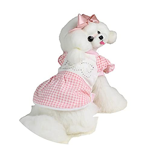 Bonawen Winter Dog Dress Puppy Coat with Crystal for Medium Small Pet - Crystal Quilted Jacket