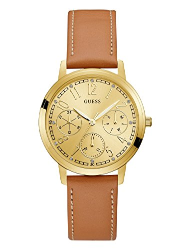 GUESS Tan and Gold-Tone Classic Multifunction (Guess Crystal Accent Multifunction Watch)
