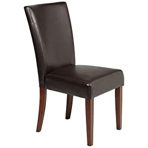 Powell brown bonded leather parsons chair 20 for Black leather parsons chairs