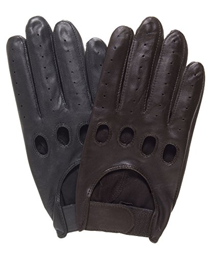 (Pratt and Hart Men's Leather Driving Gloves with Adjustable Strap Size L Color Black)